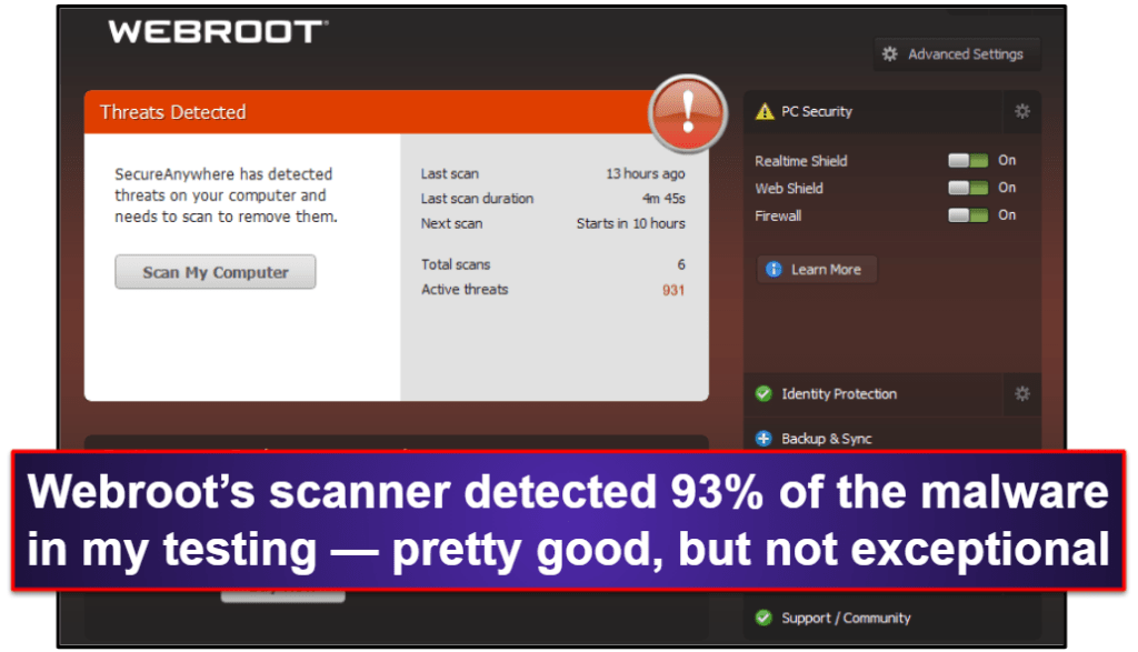 Webroot Security Features