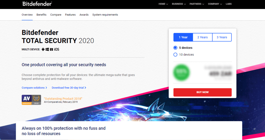 Bitdefender Total Security — Sicheres Banking