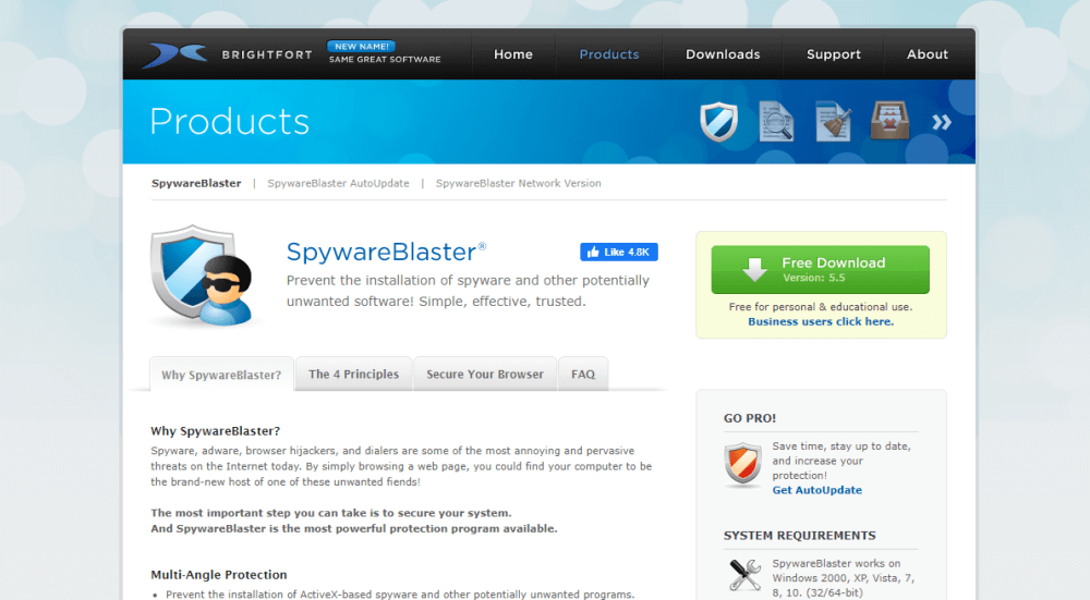 "<a href=""https://www.brightfort.com/spywareblaster.html"" rel=""nofollow noopener"" target=""_blank"" data-btn-name=""Affiliate Link"">SpywareBlaster</a> — Best for Browsing Protection"