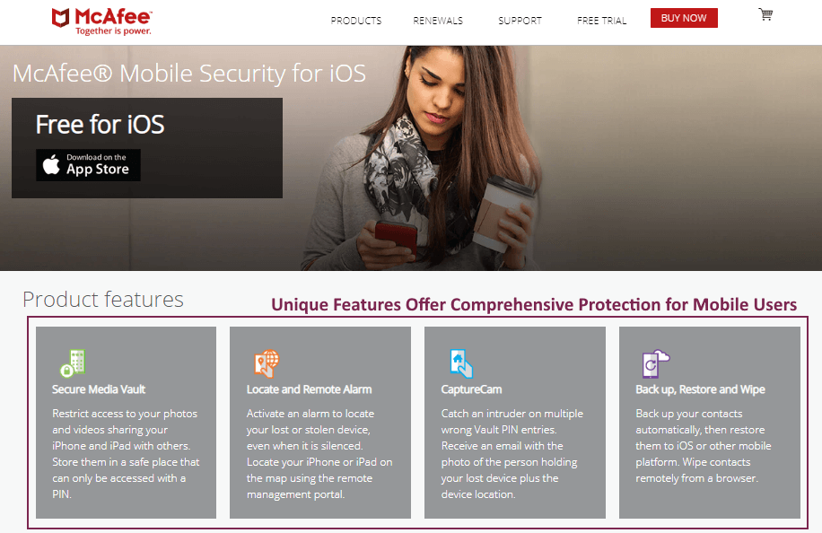 McAfee Mobile Security — Najbolji zbog funkcije Theft Protection