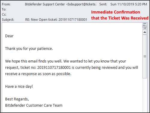 Bitdefender's Customer Support