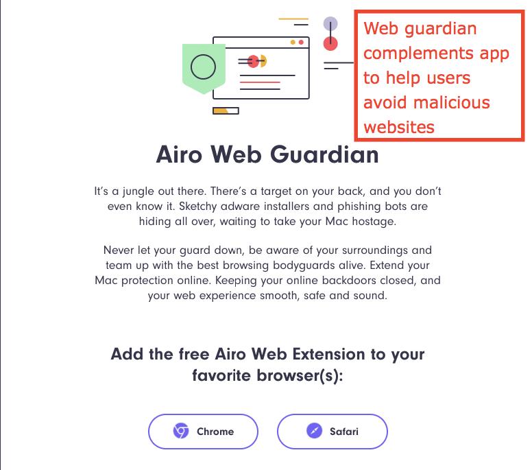 Функции за сигурност на Airo AV