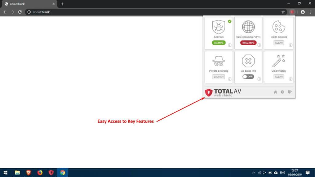 Recursos de segurança do TotalAV