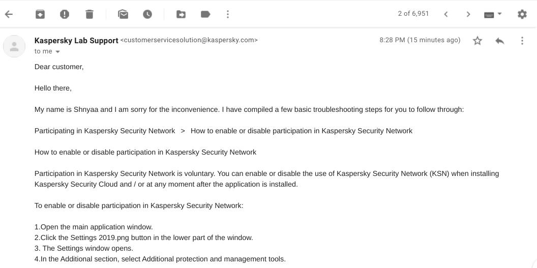 Soporte al cliente de Kaspersky Antivirus
