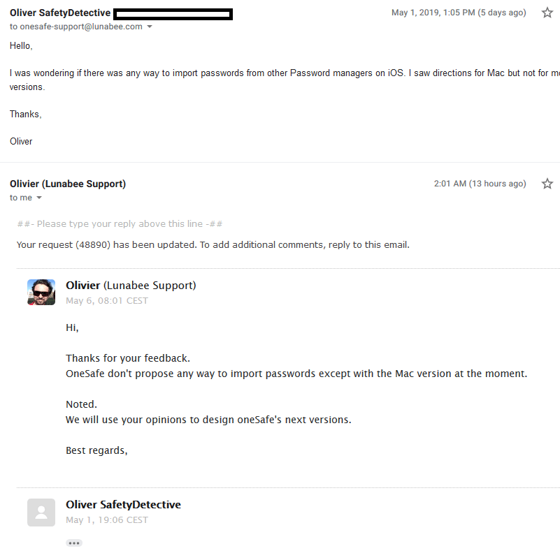oneSafe Customer Support