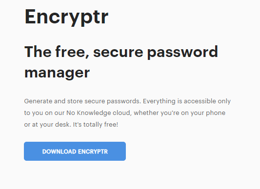 Encryptr Password Manager Plans and Pricing