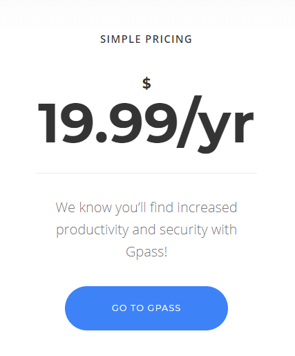 Gpass Password Manager Plans and Pricing