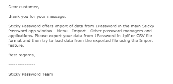 Sticky Password Customer Support