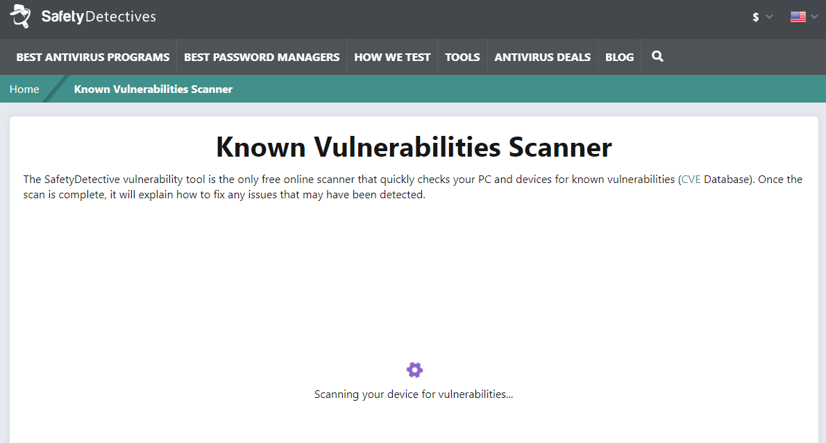 SafetyDetectives Known Vulnerabilities Scanner — Free Online Scanner