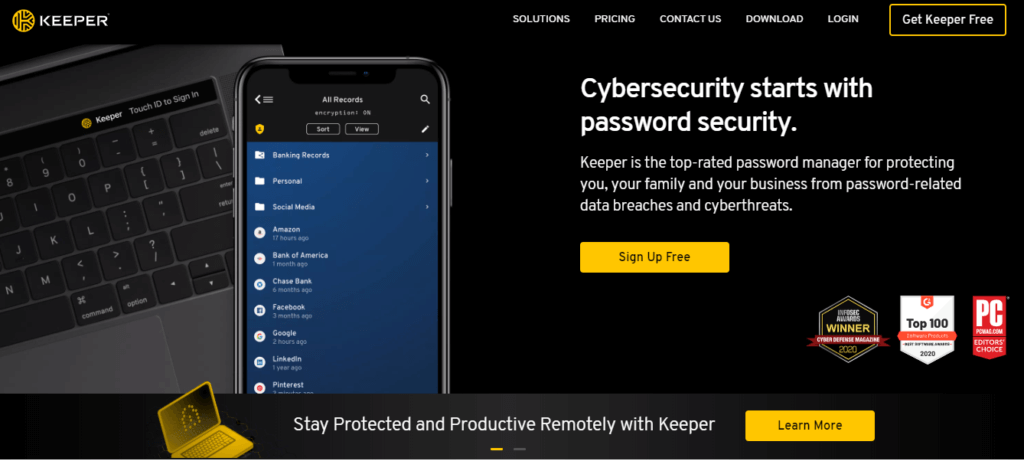 Keeper — Best for 2FA Options + Encrypted Messaging