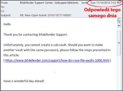 Obsługa klienta Bitdefender