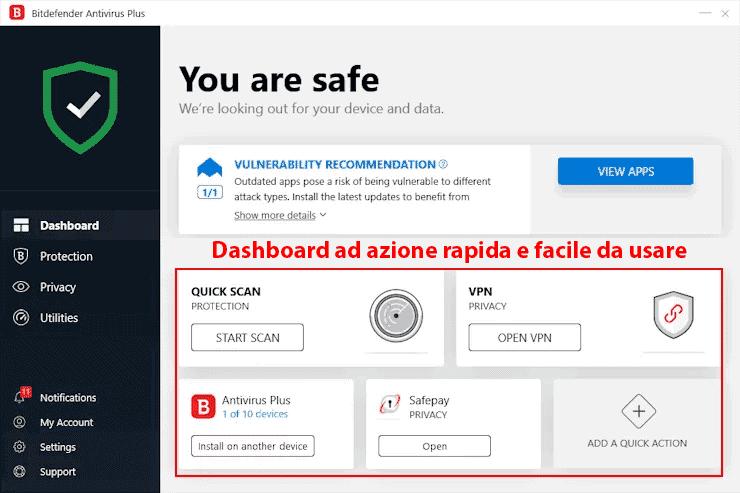 Semplicità d'uso e installazione di Bitdefender