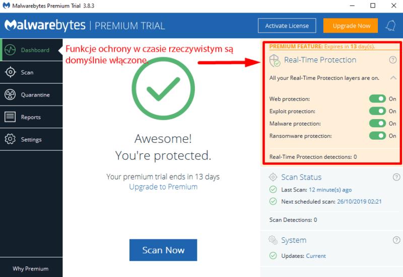 Łatwość użytkowania i konfiguracji Malwarebytes