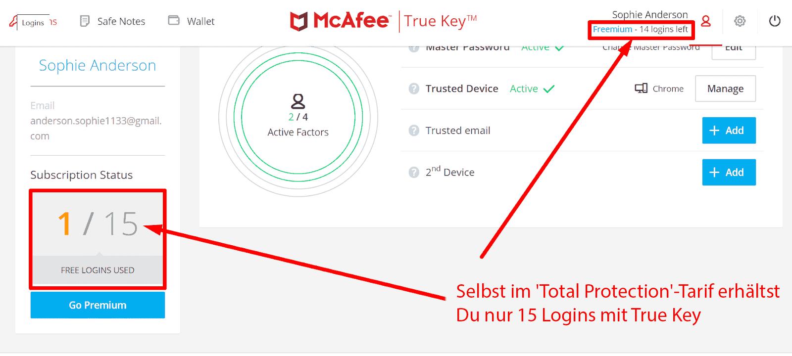 McAfee Sicherheitsfunktionen