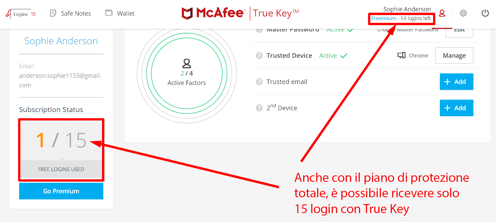 Caratteristiche di sicurezza di McAfee