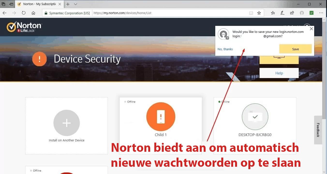 Norton 360 Beveiligingsfuncties
