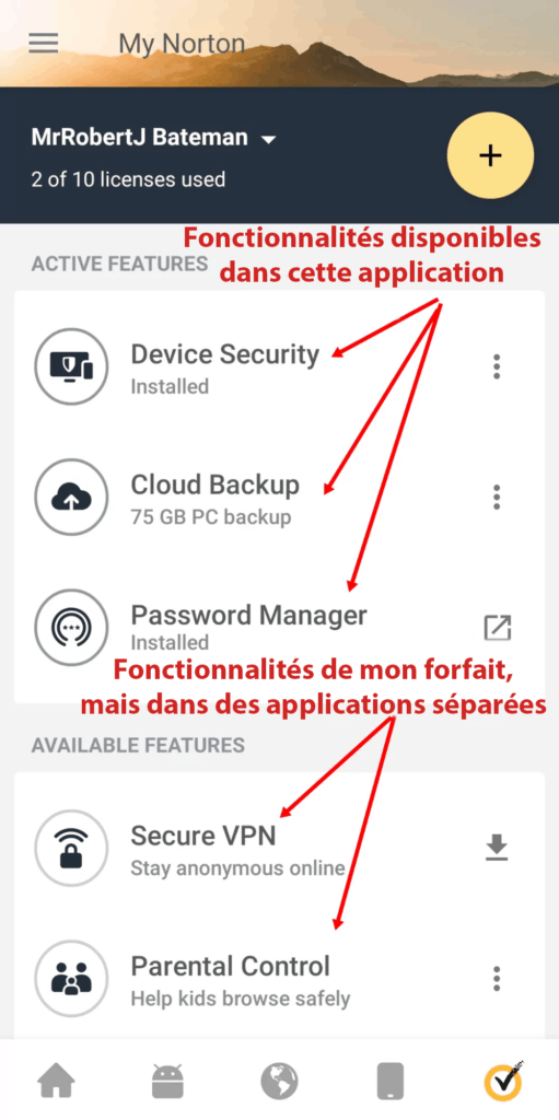 Application mobile de Norton 360