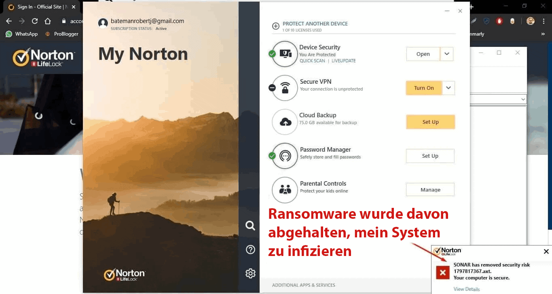 Norton 360 Sicherheitsfunktionen