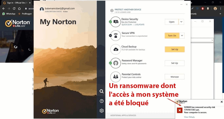 Fonctionnalités de sécurité de Norton 360