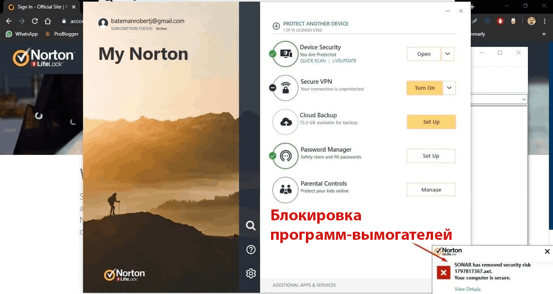 Функции обеспечения безопасности Norton 360