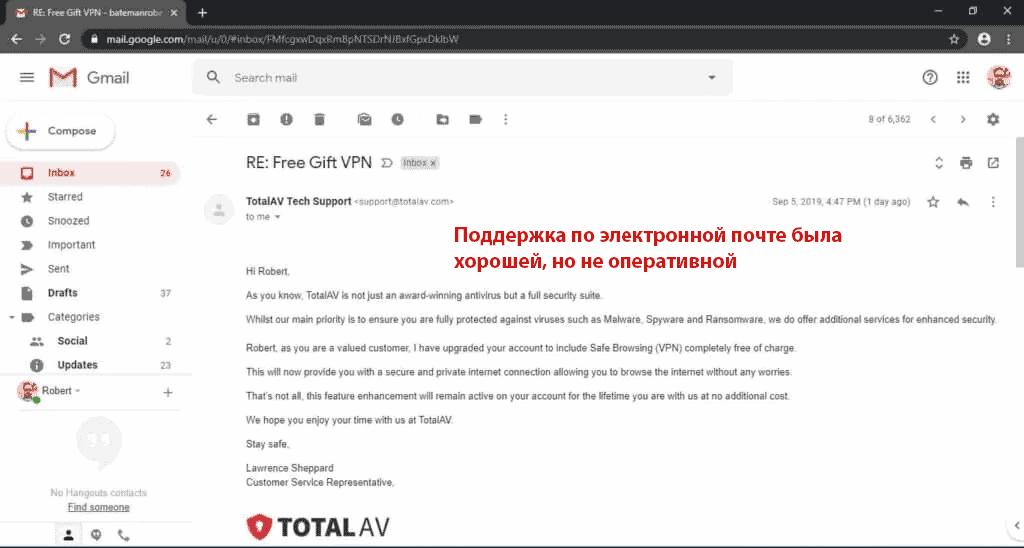Поддержка пользователей антивируса TotalAV