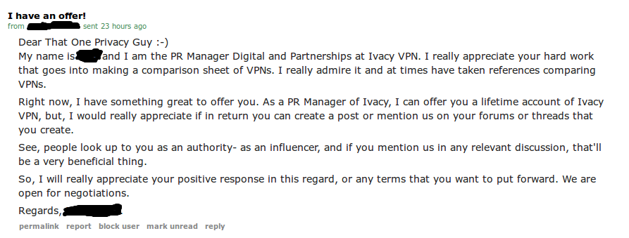 The story of how a certain VPN company tried bribing me.
