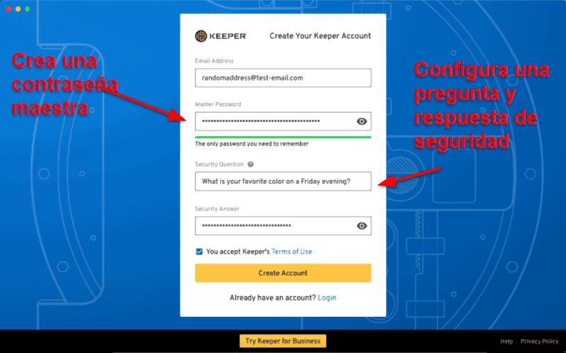 Facilidad de uso y configuración de Keeper