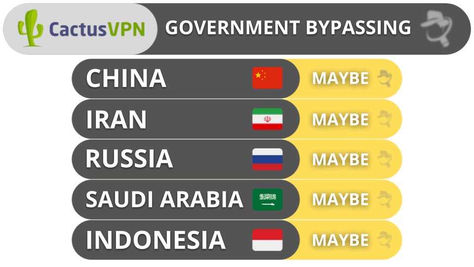 CactusVPN Government Bypassing