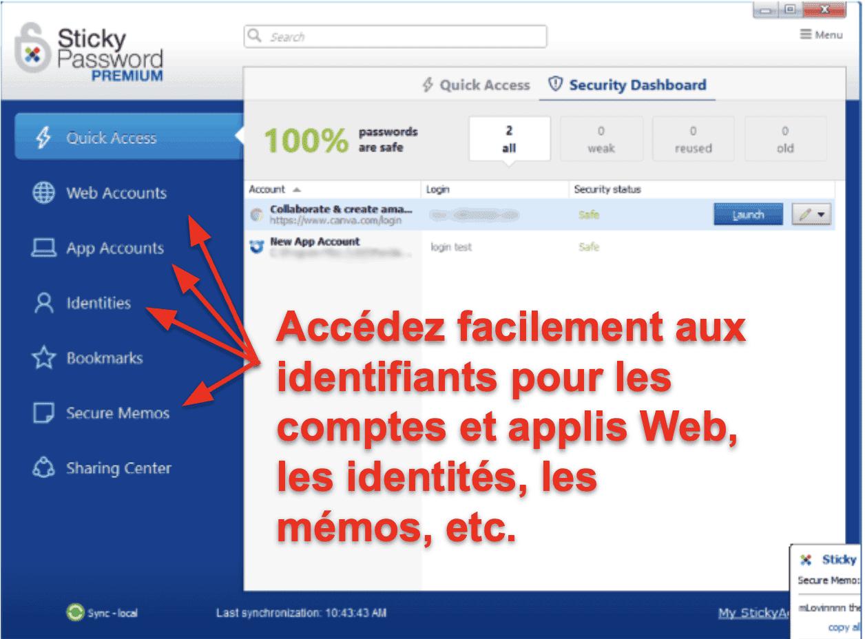 Fonctionnalités de sécurité de Sticky Password