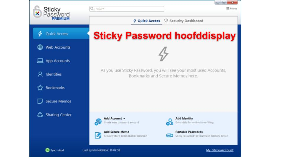 Beveiligingsfuncties van Sticky Password