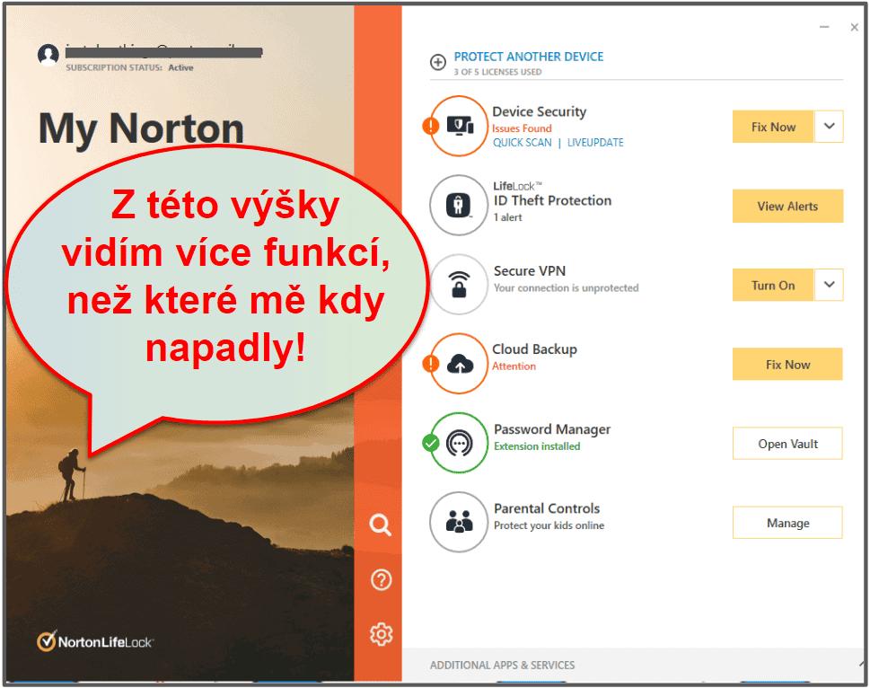 Nastavení aovládání Norton 360