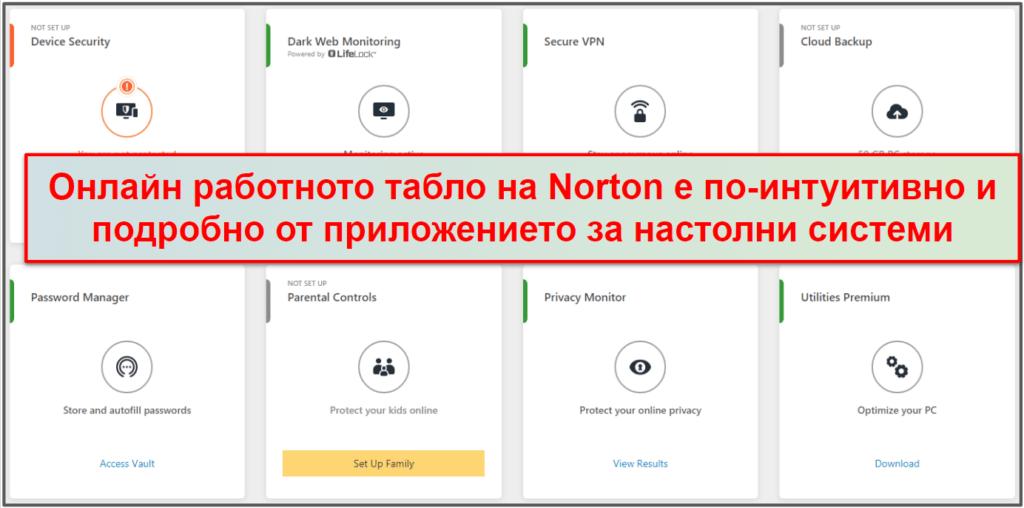 Norton 360 лекота на ползване и настройване