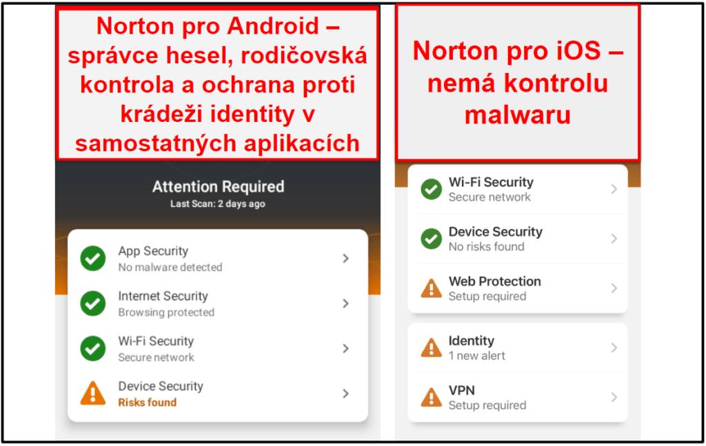 Mobilní aplikace Norton 360