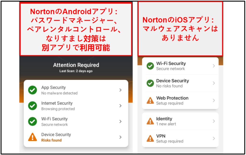 Norton 360のモバイルアプリ