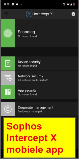 Sophos antivirus mobiele app