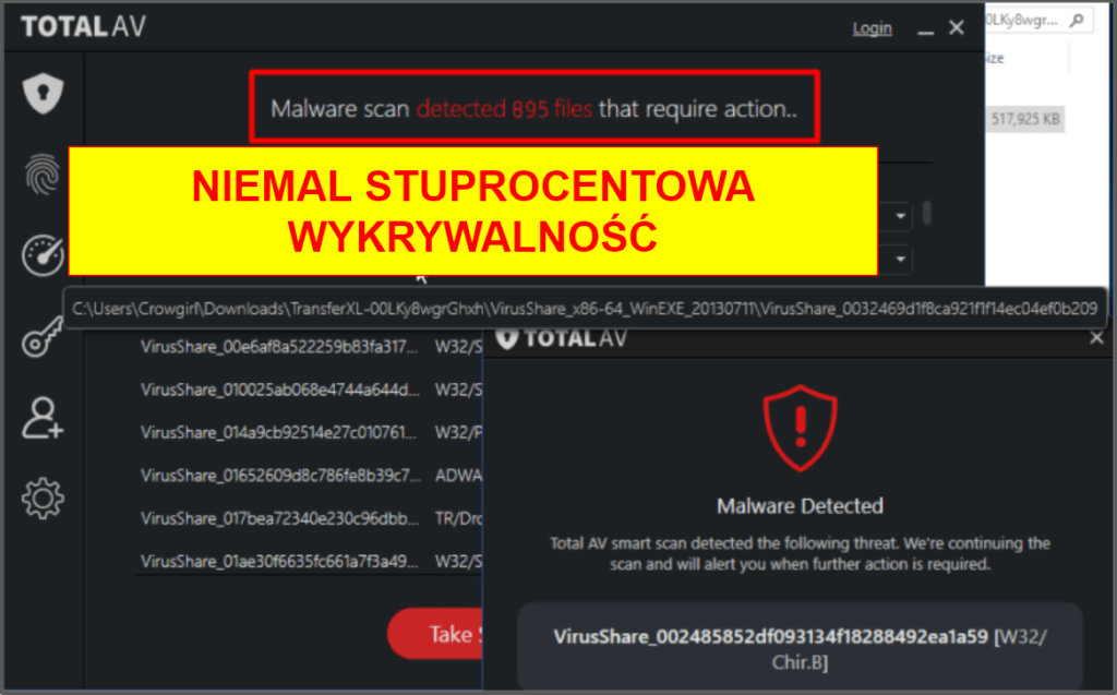 Funkcje zabezpieczające TotalAV