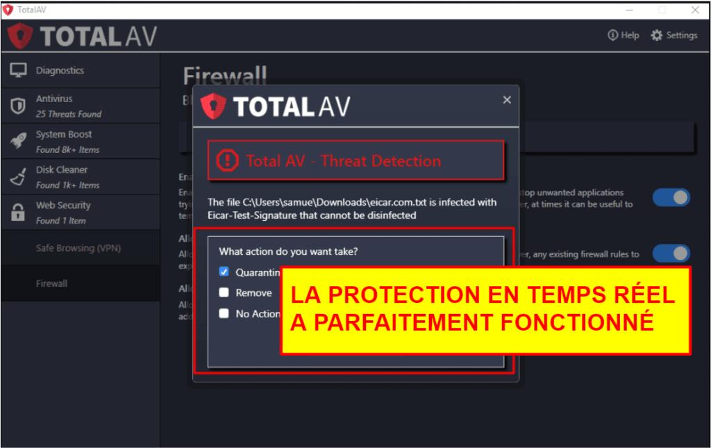 Fonctionnalités de sécurité de TotalAV
