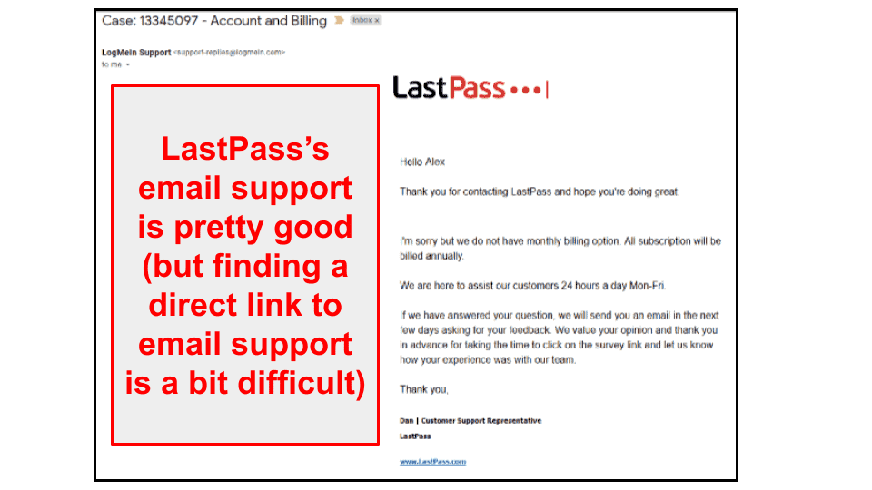 LastPass Customer Support