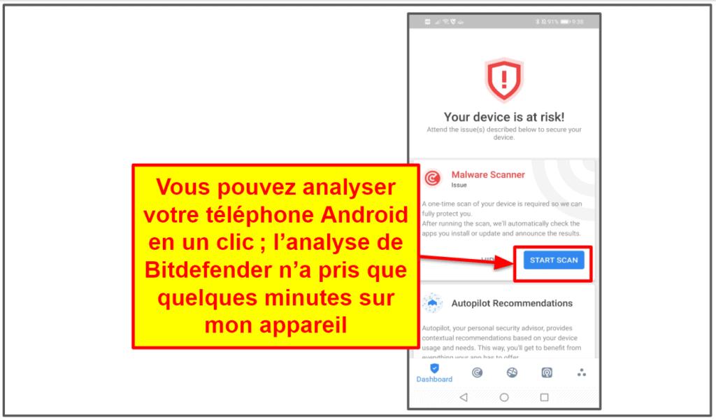 Application mobile de Bitdefender