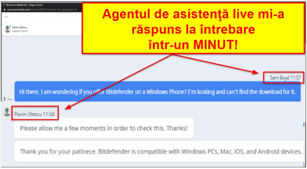 Asistenta pentru clienți Bitdefender