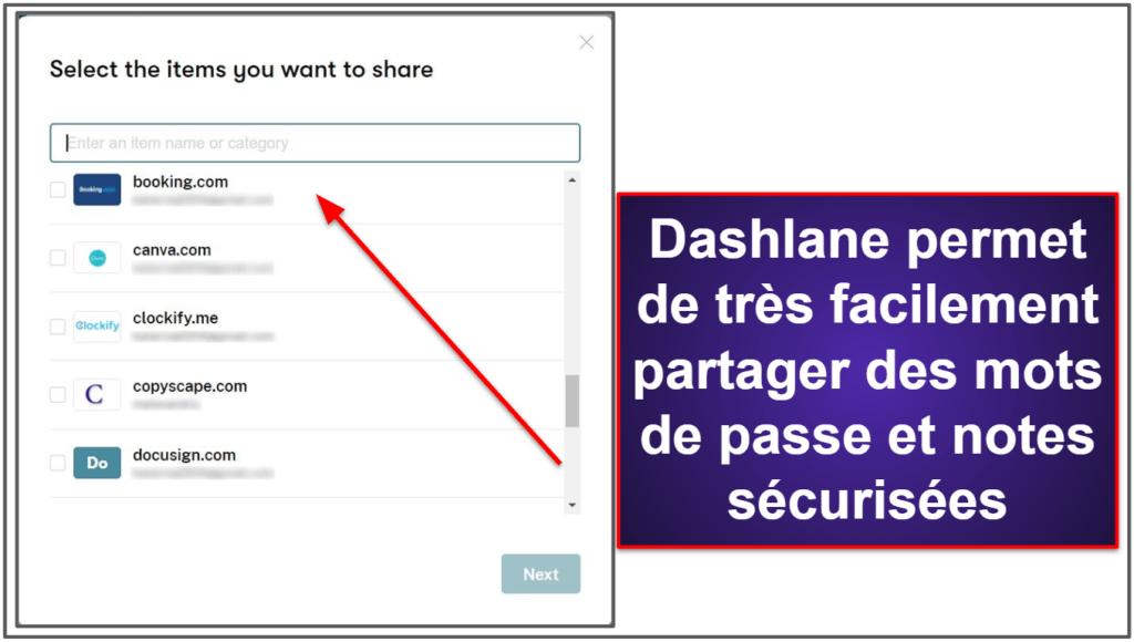 Fonctionnalités de sécurité de Dashlane