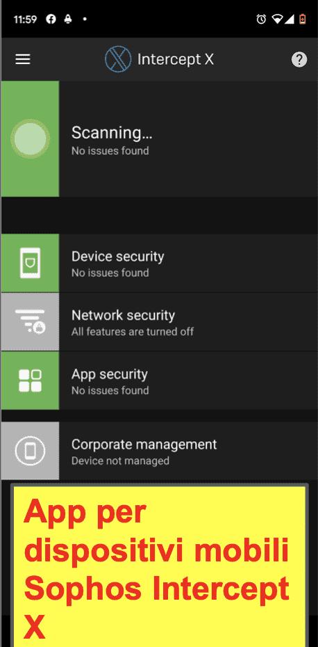 L'app per dispositivi mobili di Sophos Antivirus