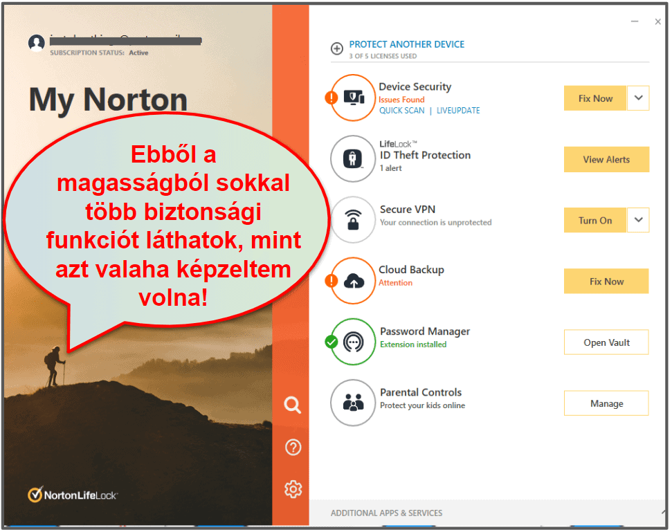 A Norton 360 felhasználói élmény & a beállítások