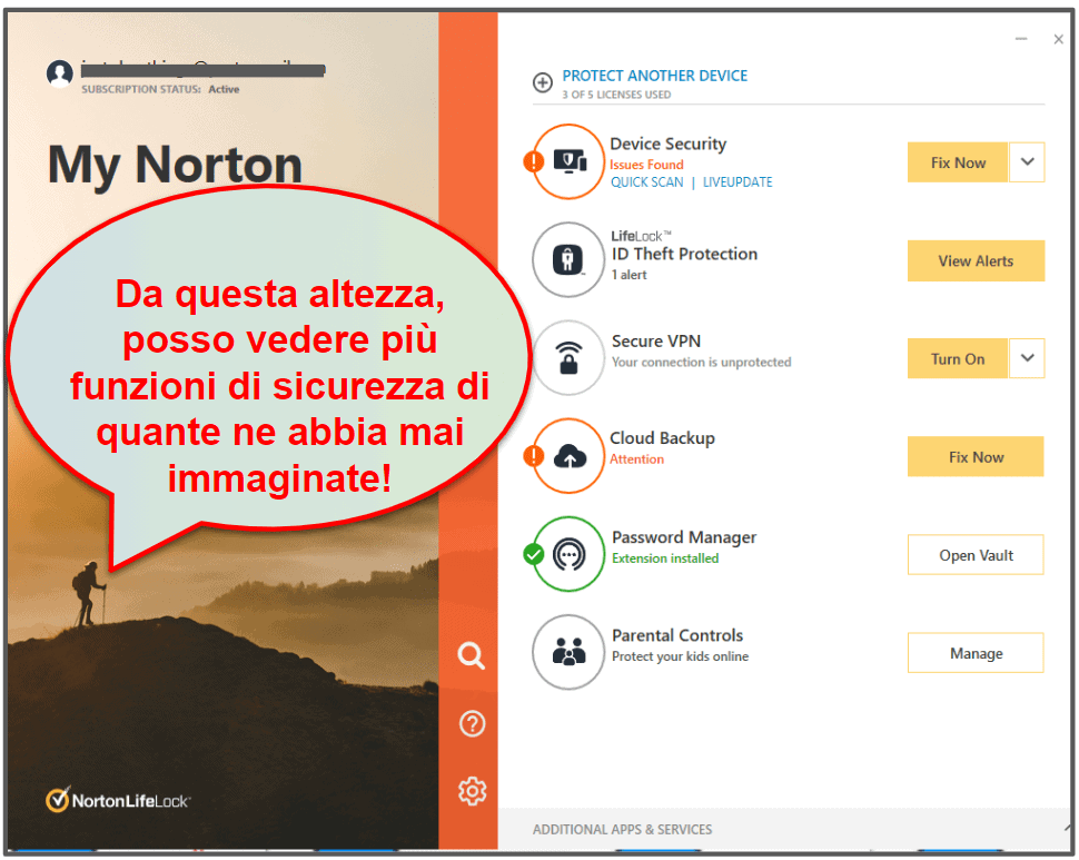 Facilità di setup e utilizzo di Norton 360