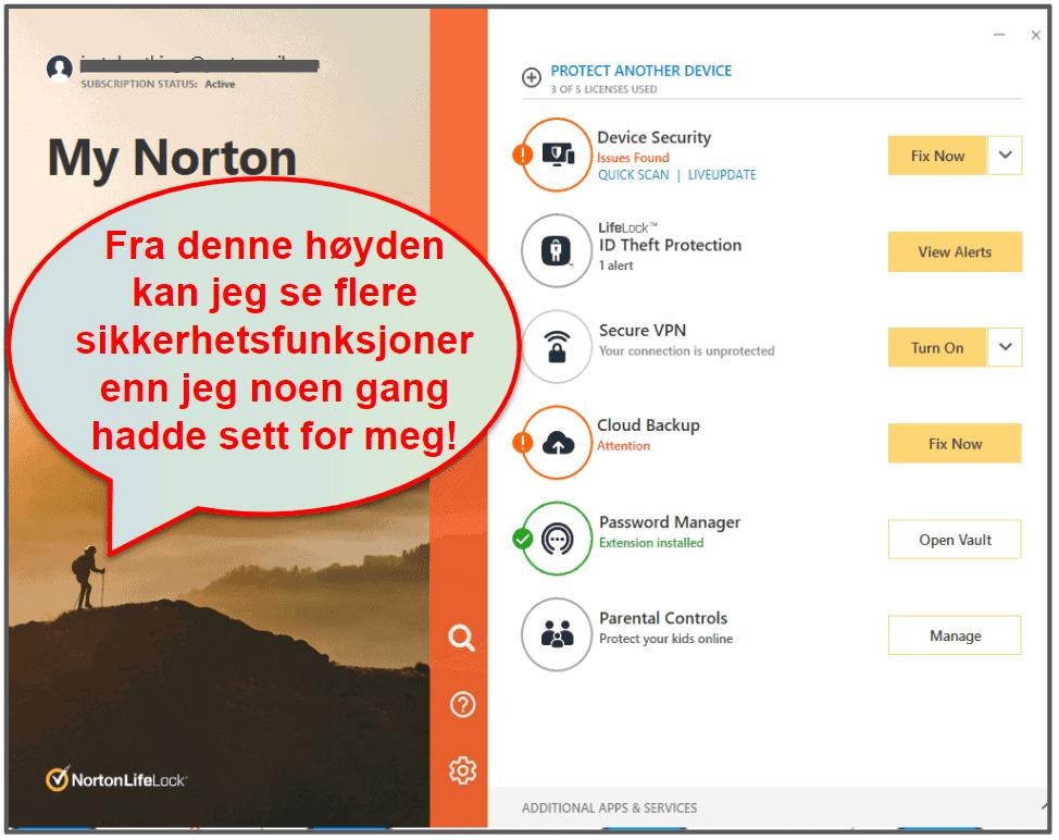 Norton 360 brukervennlighet og oppsett