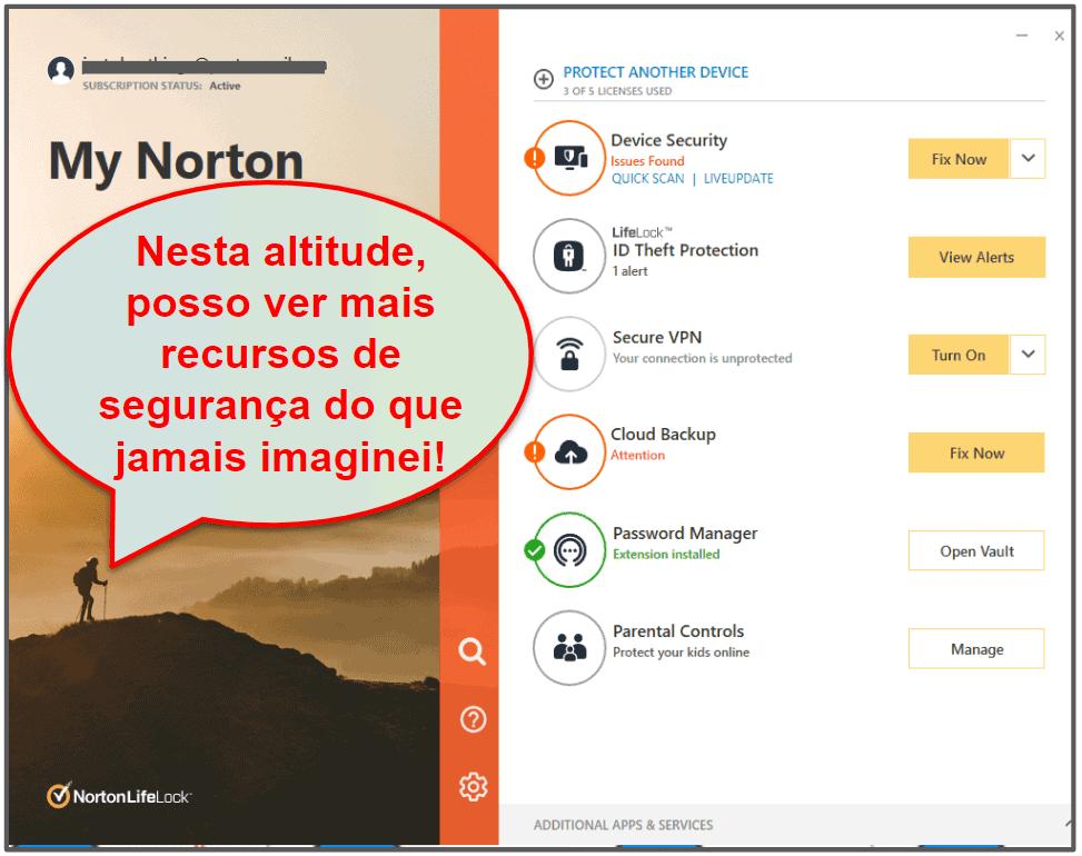 Facilidade de uso e configuração do Norton 360