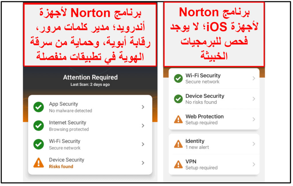 تطبيقNorton 360 الهاتفي