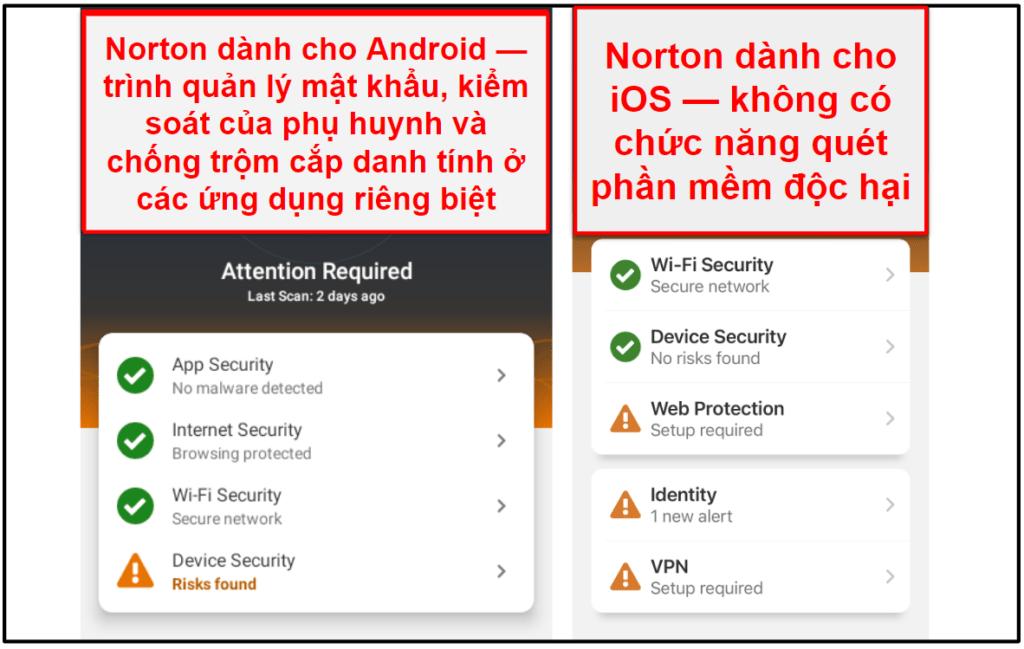 Ứng dụng di động của Norton 360