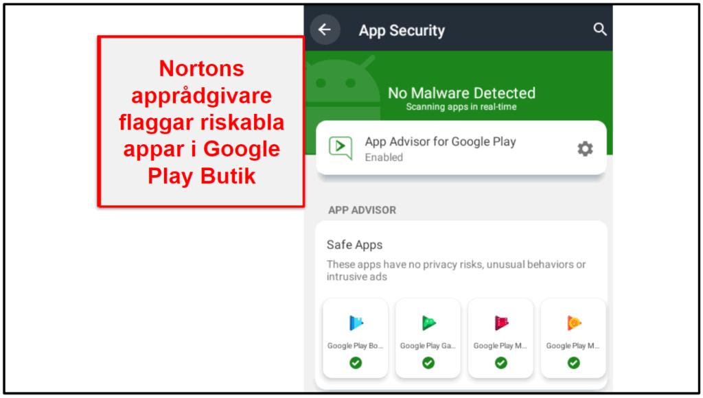 Norton 360:s mobilapp