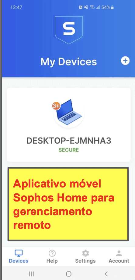 O aplicativo móvel do antivírus Sophos